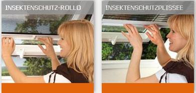 Insektenschutz auch für Dachfenster ( mit Rollos oder mit Plissees)