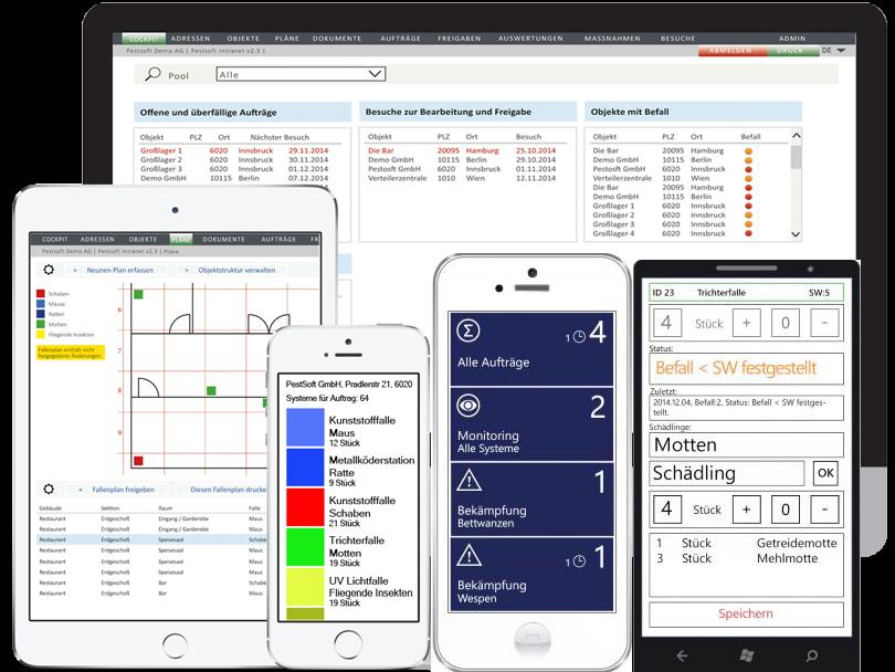 Die neue Softwarelösung von PestSoft gestaltet das Schädlingsbekämpfungs-Management flexibel und individuell: Die mobile Vollversion wird ganz einfach per APP auf Ihrem Smartphone installiert und ist sofort einsatzbereit. Auf Wunsch auch in Ihrer Sprache!