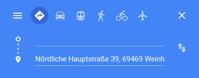 Mit Klick ins Bild erscheint auch die Eingabemaske Routenplaner