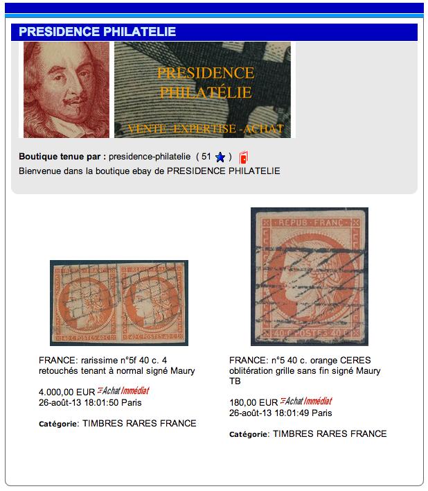 boutique ebay PRESIDENCE PHILATELIE timbres classiques rares