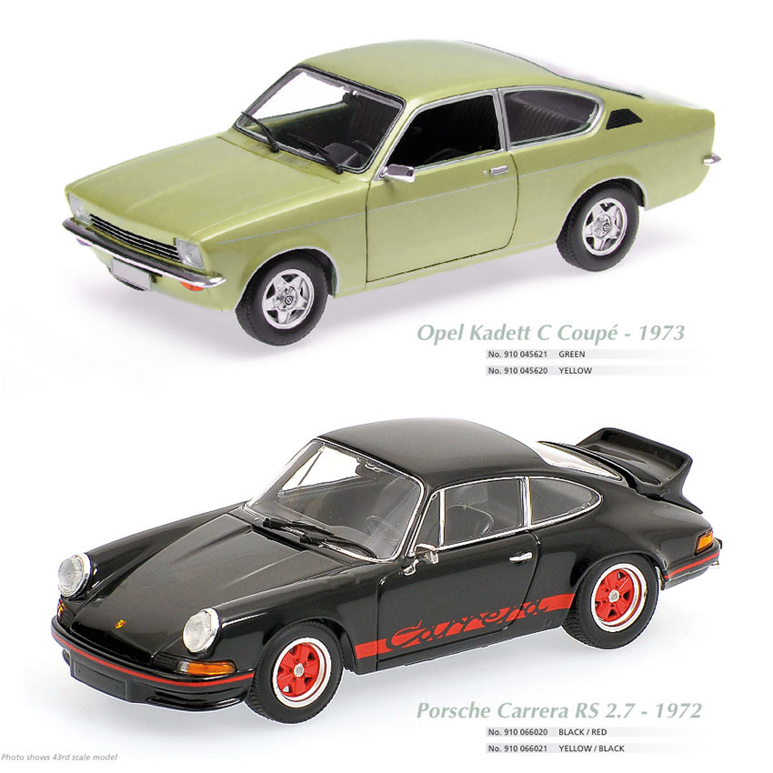 Maxichamps, Opel Kadett C Coupe 1973,  Scale 1:18, maxichamps, Porsche Carrera RS 2.7 1972, Scale 1:18