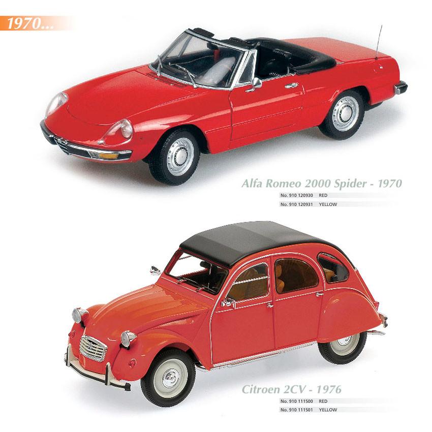 Maxichamps Alfa Romeo Spyder 1970, Scale 1:18, Maxichamps Citroen 2CV 1976, Scale 1:18