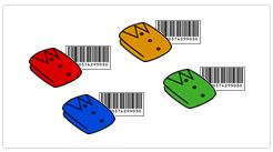 商品にバーコードラベル貼付