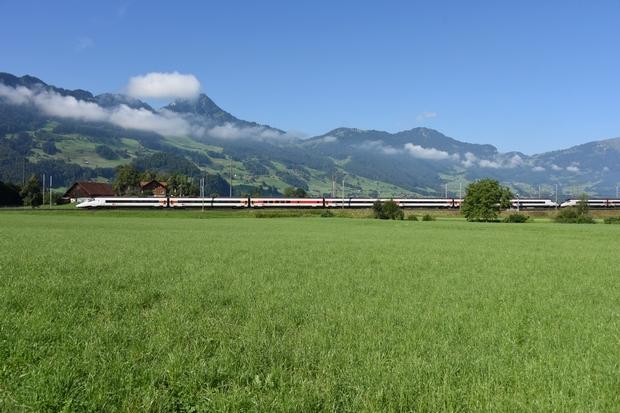 August 2020: SBB RABe 503 Zürich - Mailand, Steinen/CH 6.8.2020