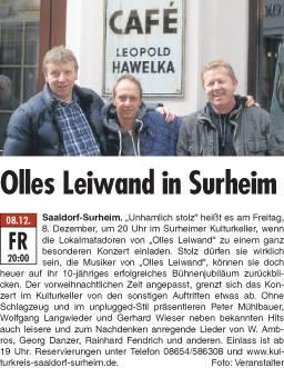 Olles Leiwand, die Austropop Band aus Freilassing spielt Hits von STS, Ambros, Danzer im Kulturkeller Surheim