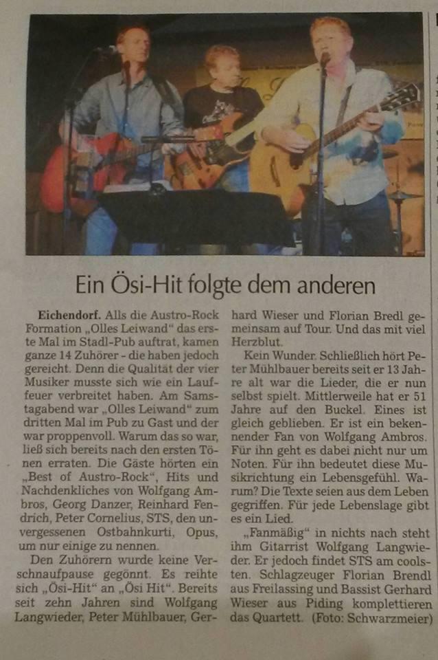 Olles Leiwand im Stadl-Pub Eichendorf mit Austropop von Ambros, STS, Danzer, Fendrich