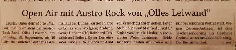 Olles Leiwand, die Austropop Band aus Salzburg und Bayern, im Gasthof Greimel Laufen