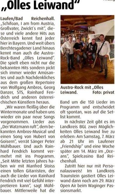 Olles Leiwand spielt live Austropop im Friendship laufen. Livemusik von Fendrich, Ambros, Danzer, STS, Sailer und Speer