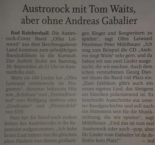 Olles Leiwand, Austropop aus Salzburg, in Bad Reichenhall im Kammerer Bräu mit Musik von Ambros, Danzer, STS, Fendrich und ohne Gabalier