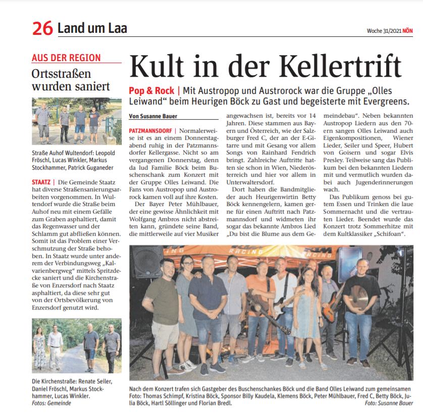 Olles Leiwand spielt beim Heurigen Böck in Niederösterreich