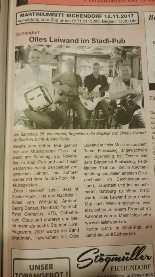 Olles Leiwand, Austropop aus Salzburg / Freilassing spielt Musik von Ambros, Danzer, Fendrich & Co. im Stadl-Pub Eichendorf.