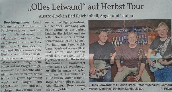 Die Austropop Band Olles Leiwand auf Herbst Tournee in Laufen, Anger und Bad Reichenhall