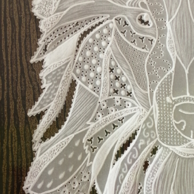 <h2>cadre Loup en dentelle de papier - détails dentelle<h2>