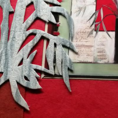 <h2>cadre Bambous - détails pavé et découpes 3D bambous<h2>