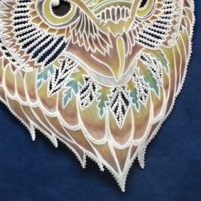 <h2>cadre hibou en dentelle de papier - détails couleurs<h2>