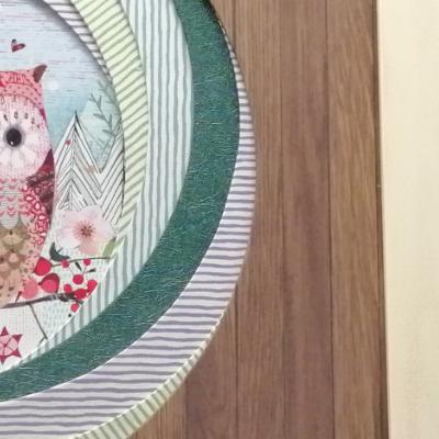 <h2>cadre chouettes de Noël - détails passe-partout bois<h2>