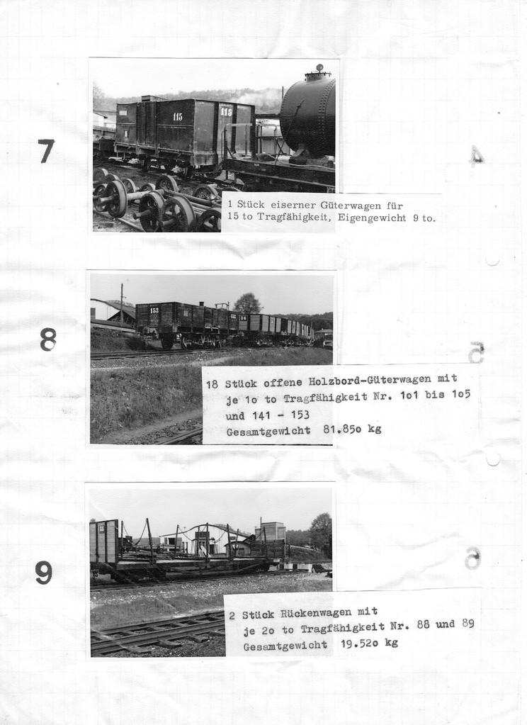 Seite 3 des Verkaufskatalogs, die Angaben in Kg. beziehen sich auf alle Wagen des Loses