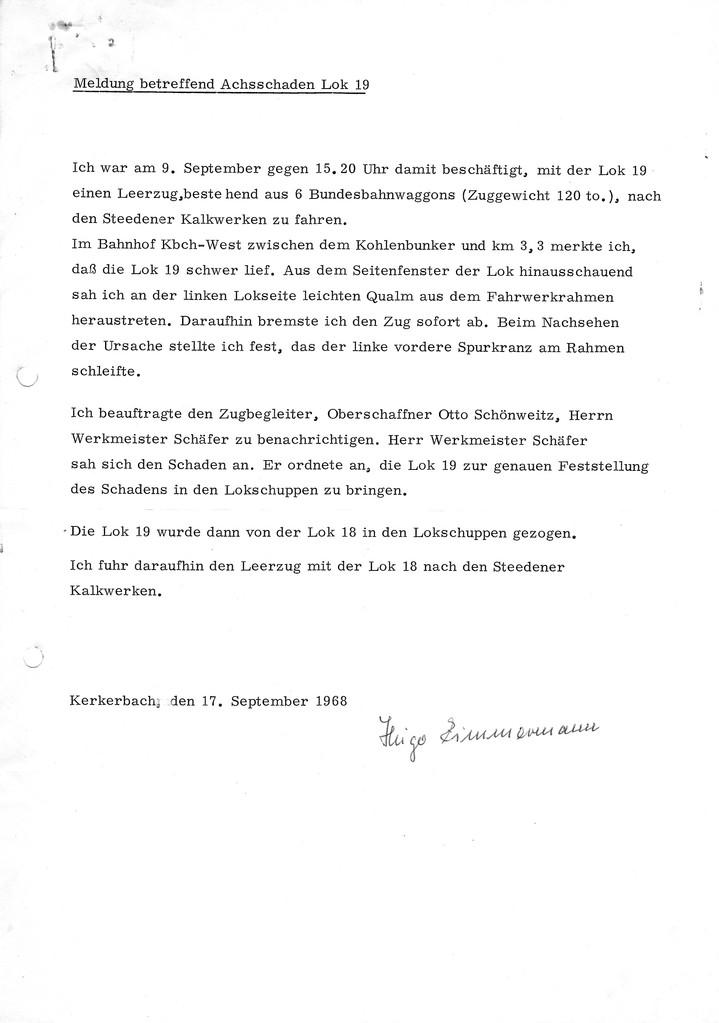 Achbruch auf Lok 19!!!    Hier das Protokol des Lokführers vom 17.09.1968