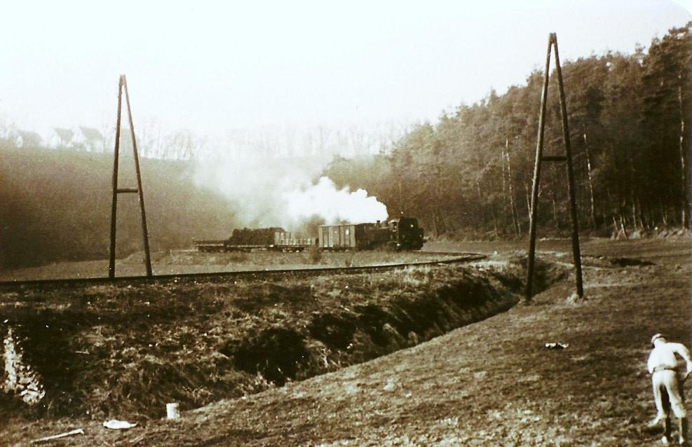 Lok 15 mit einem Zug hinter Eschenau