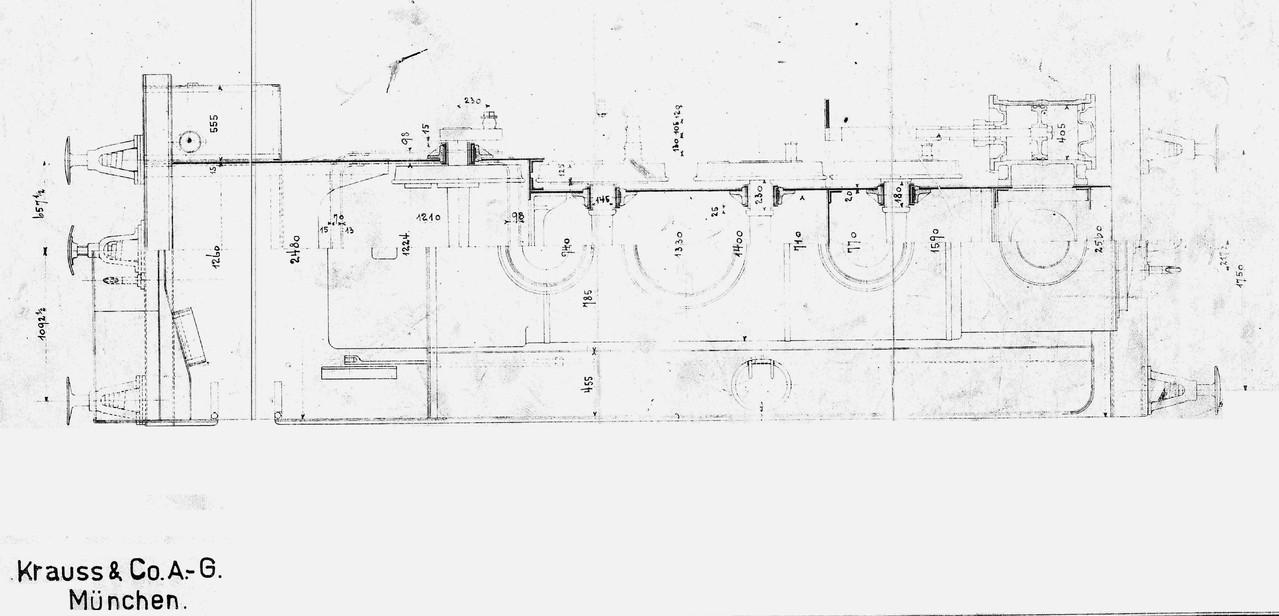 Lok 14 nach Zeichnung Krauss Draufsicht,  man beachte den Rahmen!!!