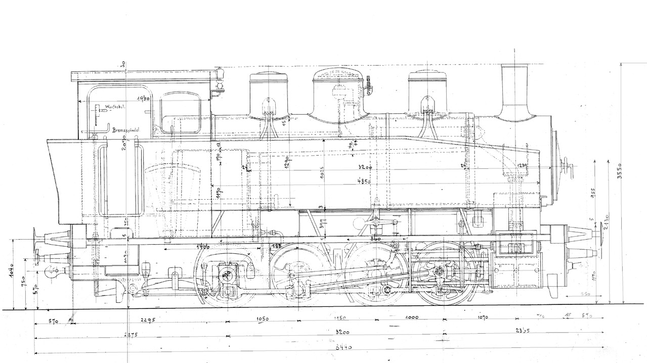 Lok 14 nach Zeichnung Krauss Ablieferungszustand ohne Luftpumpe