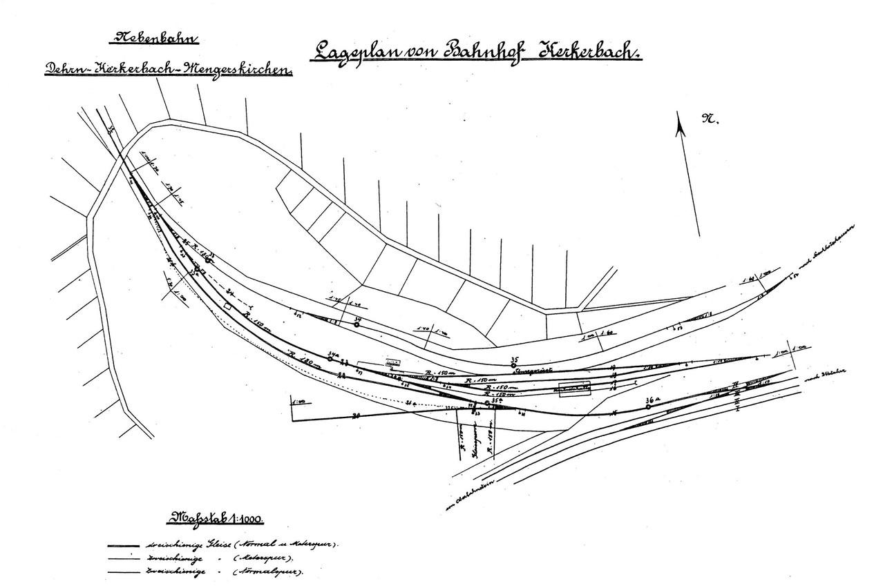Hier der Lageplan des Bf. Kerkerbach, noch ohne Gleiserweiterungen und Werkstatt aus dem Jahre 1911