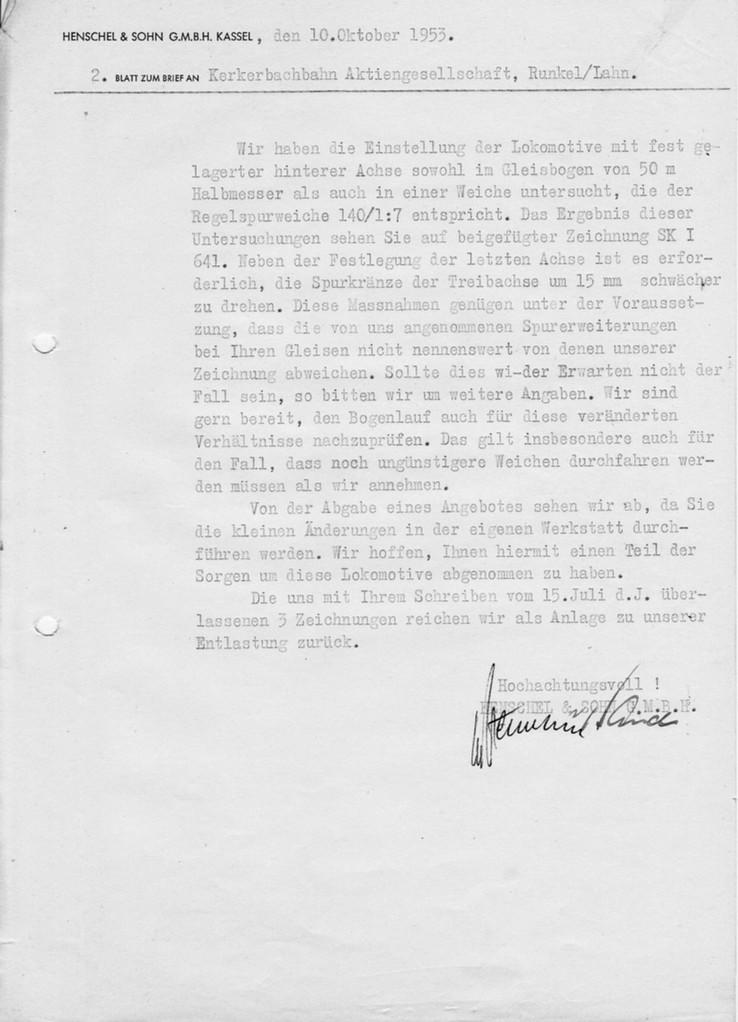 Schreiben von Fa Henschel wegen Laufruhe Lok 14 rück