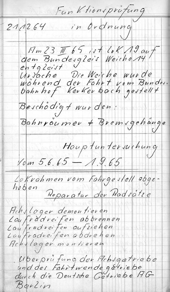 Aus dem Buch des Werkmeisters: Entgleisung der Lok 19 am 23.03.1965 an Weiche 14 des Bahnhofs Kerkerbach