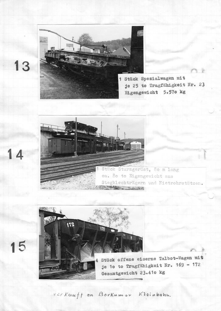 Seite 5 des verkaufskatalogs, Bei Los 14 werden keine Wagen, sondern das Sturzgerüst angeboten