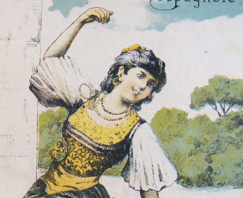 Испанка-танцовщица, рисунок нотной обложки