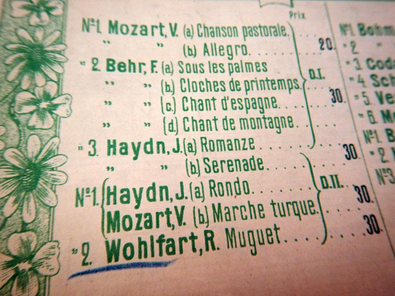 Вольфарт, Ландыш (фрагмент списка выпущенных пьес)