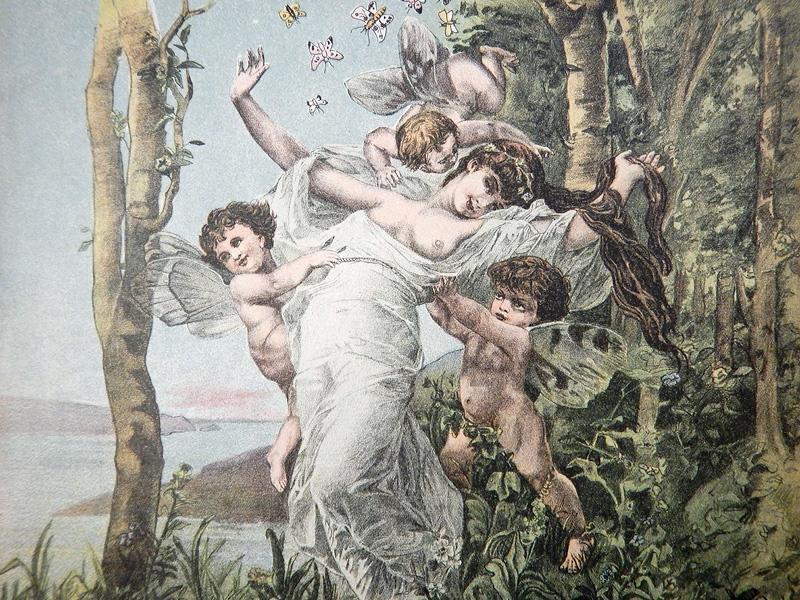 Шалость бабочки, старинный рисунок а-ля Бугро