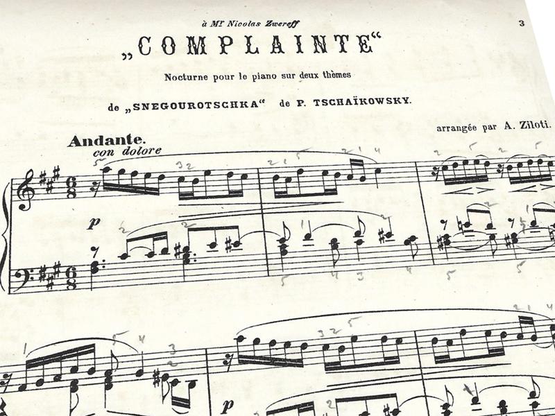 «Complainte», ноктюрн на две темы из «Снегурочки» Чайковского, Александр Зилоти