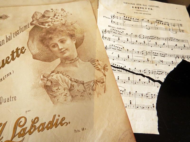 Утраченные фрагменты нотного текста восстановлены в фотошопе