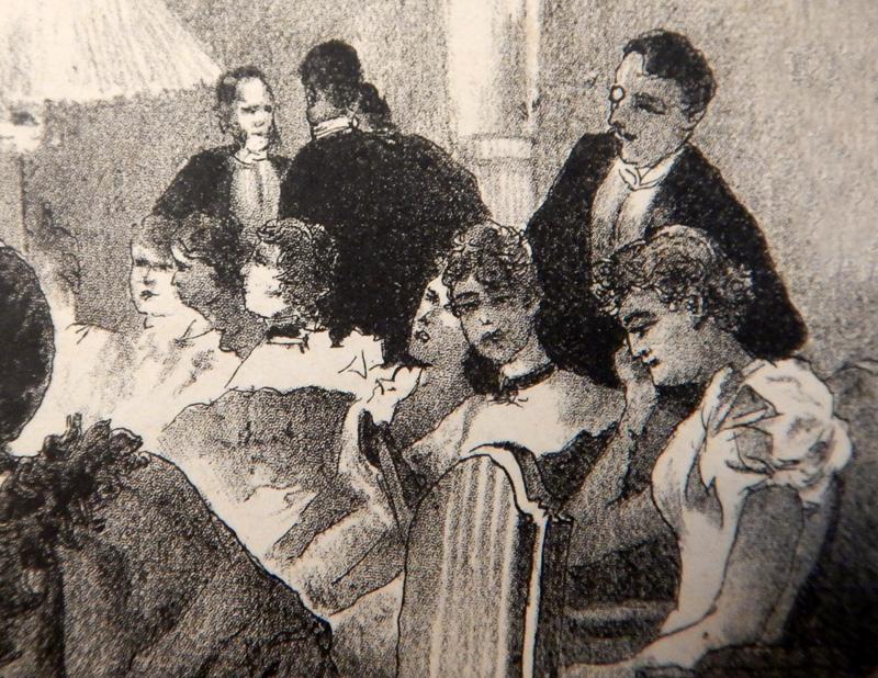 Дама (справа), разговаривающая по мобильному телефону в 1898 году (!)