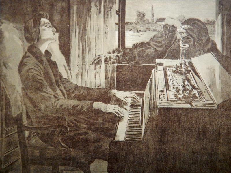 Смерть слушает Шопена (рисунок на нотной обложке)
