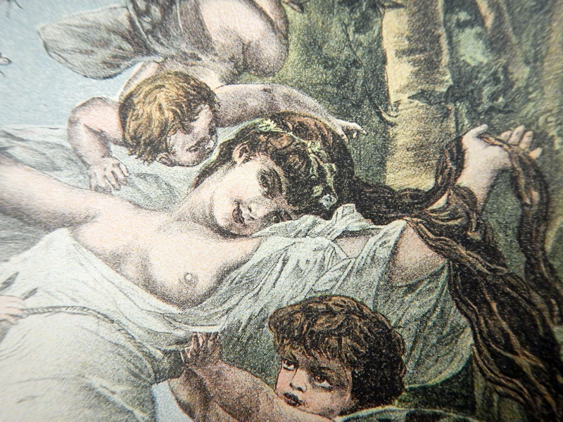 Рисунок на нотной обложке: девушка и ангелочки с крылышками бабочек