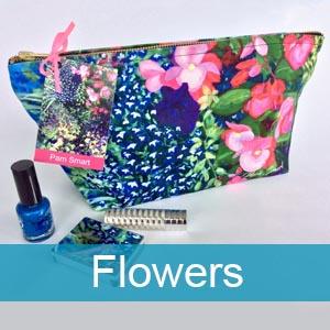 flowers cotton zip bags