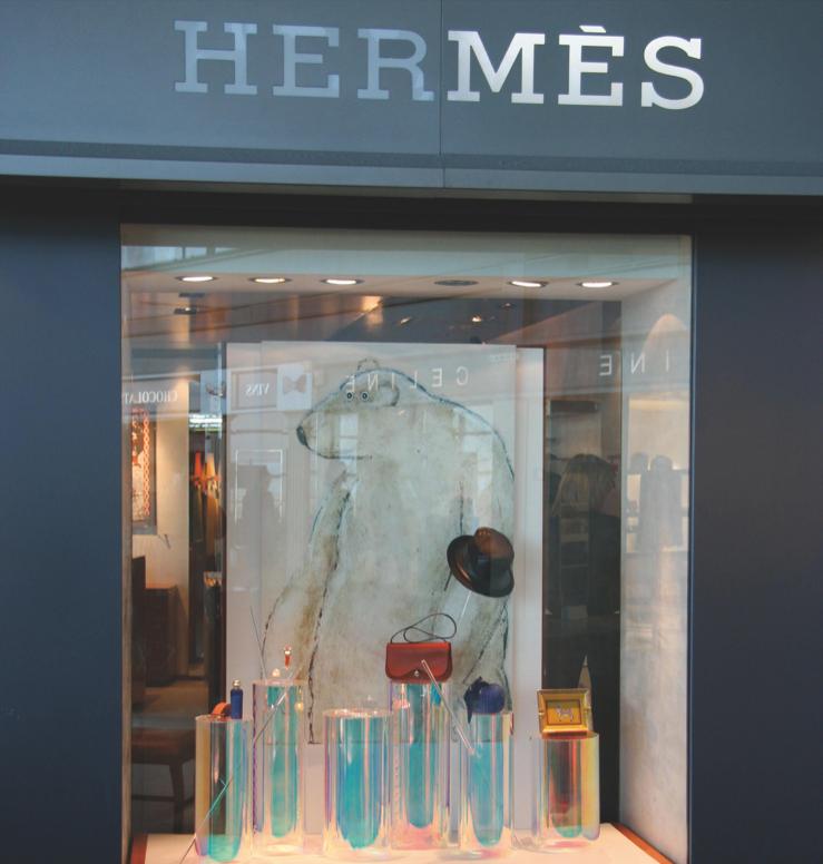 Polar bear in Hermes store