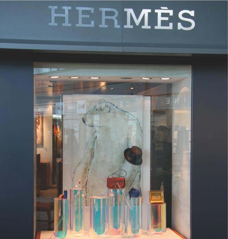 Polar bear in Hermes store