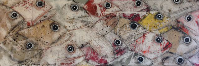 Heure de pointe                     Mixed media on heavy cotton                   60''x20''