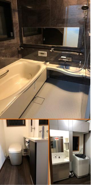 リビングに新たに壁を作り、トイレと脱衣室へのドアを仕切る工事をされた際に水廻り機器も入替。 シックな色でコーディネートされ、落ち着いた空間になりました。(奈良市H様邸)