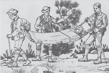 """1926 - Alpenvereinsbahre als Tragsack aus dem Handbuch """"Alpines Rettungswesen"""""""
