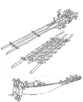 1949 – Behelfsmäßige Transportmittel aus dem Jahre 1949 Alpenvereinsbahre