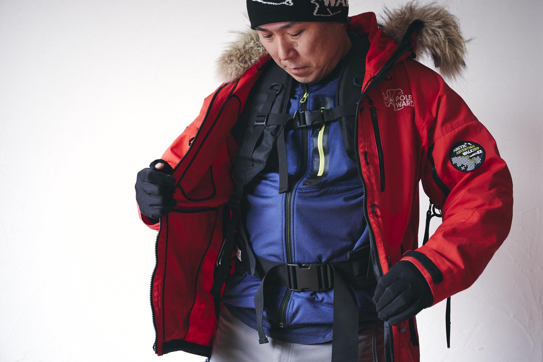 ソリひき用のハーネスはジャケットの内に装着