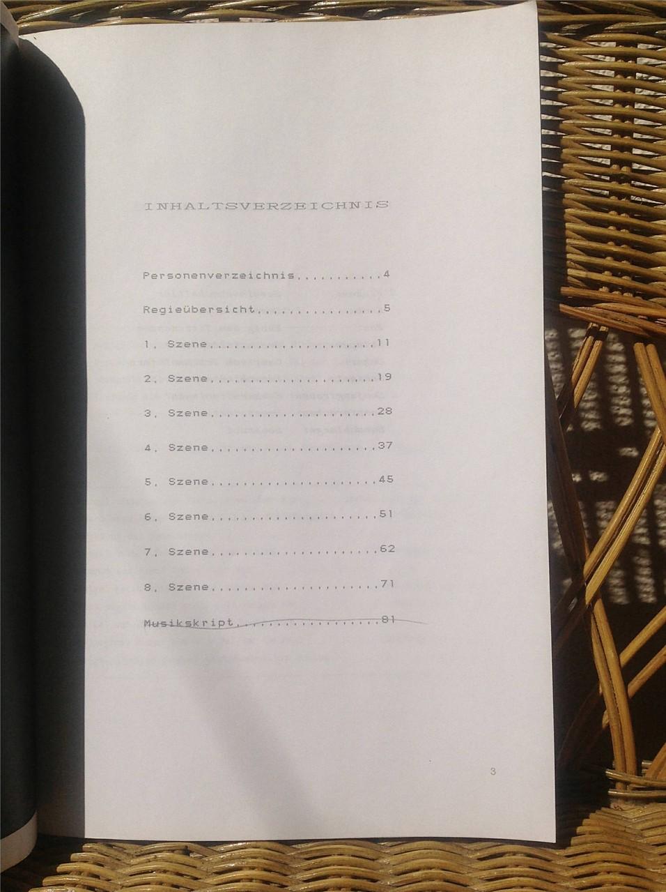 Petra Mettke, Karin Mettke-Schröder/Der unzufriedene Nöx/SongSchauSpiel von 1990/Inhaltsverzeichnis