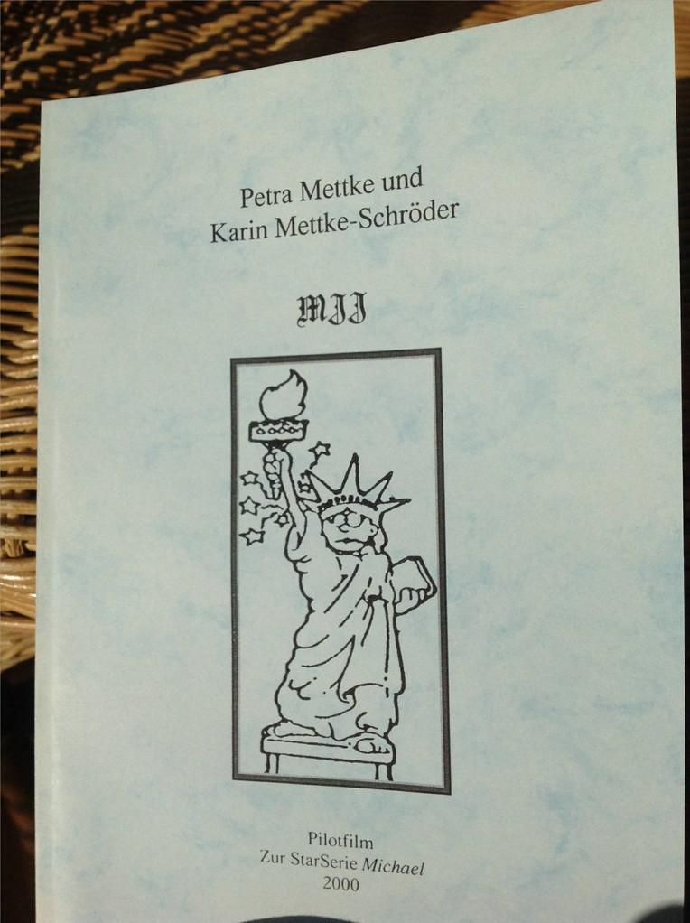 Petra Mettke, Karin Mettke-Schröder/MJJ/Drehbuch zum Gigabuch Michael/2000/2. Coverentwurf