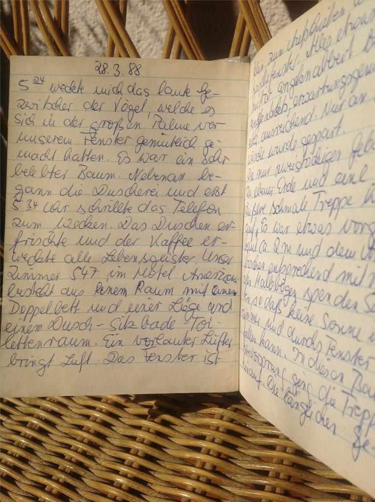 Karin Mettke-Schröder/originales Reisetagebuch Israel von 1988/Eintrag 28.03.1988