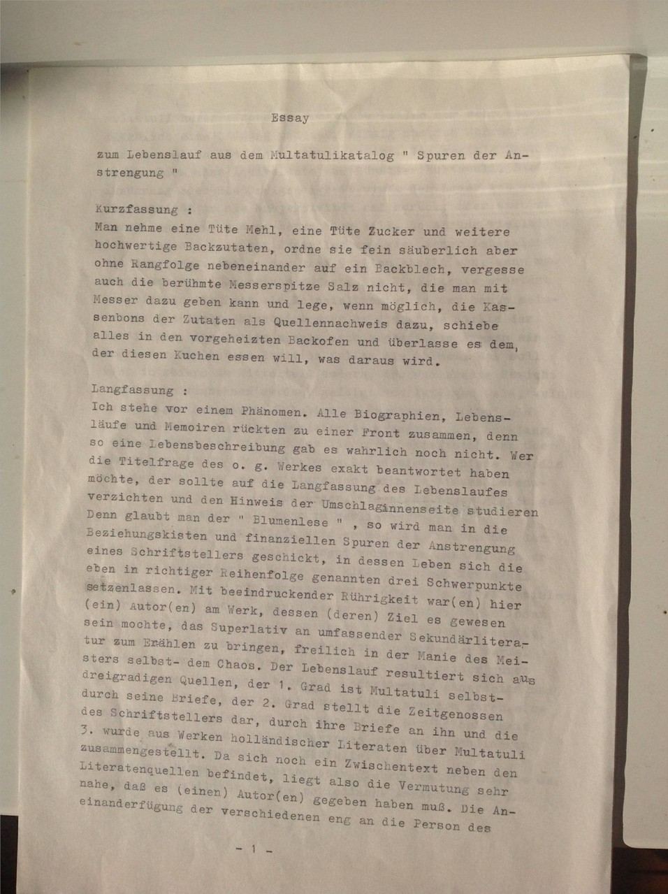 Karin Schröder und Petra Mettke/Multatuli-Essay von 1987/Seite 1