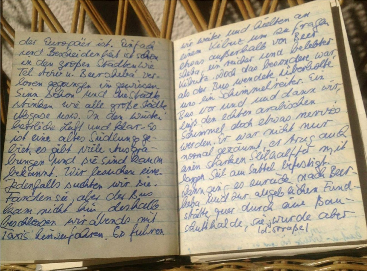Karin Mettke-Schröder/originales Reisetagebuch Israel von 1988/beliebe Doppelseite